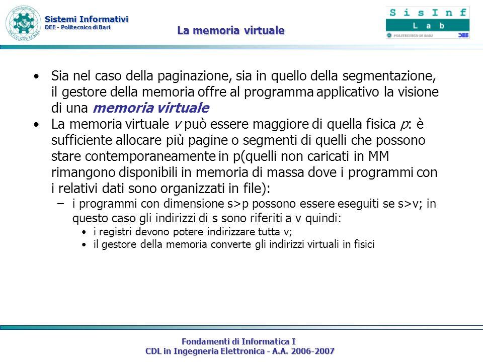 Sistemi Informativi DEE - Politecnico di Bari Fondamenti di Informatica I CDL in Ingegneria Elettronica - A.A. 2006-2007 La memoria virtuale Sia nel c