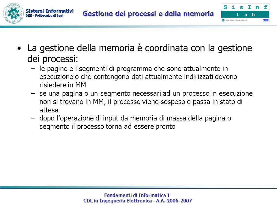 Sistemi Informativi DEE - Politecnico di Bari Fondamenti di Informatica I CDL in Ingegneria Elettronica - A.A. 2006-2007 Gestione dei processi e della