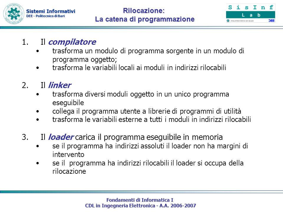 Sistemi Informativi DEE - Politecnico di Bari Fondamenti di Informatica I CDL in Ingegneria Elettronica - A.A. 2006-2007 1.Il compilatore trasforma un