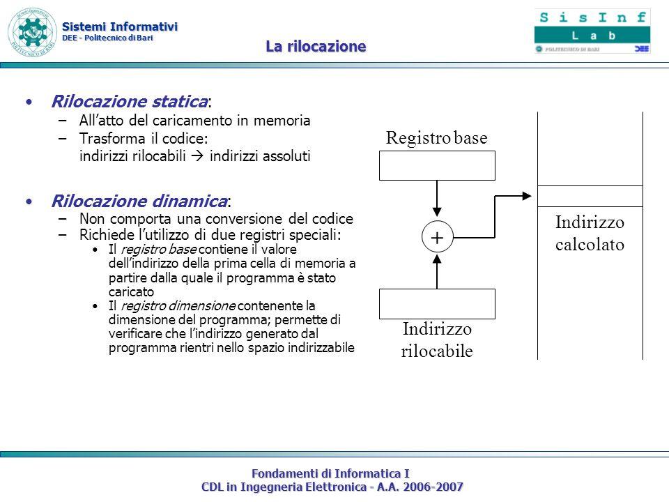 Sistemi Informativi DEE - Politecnico di Bari Fondamenti di Informatica I CDL in Ingegneria Elettronica - A.A. 2006-2007 La rilocazione Rilocazione st