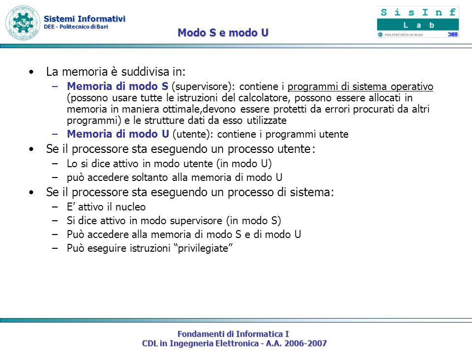 Sistemi Informativi DEE - Politecnico di Bari Fondamenti di Informatica I CDL in Ingegneria Elettronica - A.A. 2006-2007 Modo S e modo U La memoria è