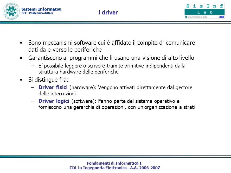 Sistemi Informativi DEE - Politecnico di Bari Fondamenti di Informatica I CDL in Ingegneria Elettronica - A.A. 2006-2007 Sono meccanismi software cui