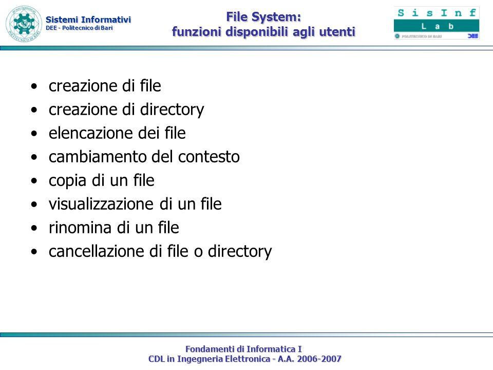 Sistemi Informativi DEE - Politecnico di Bari Fondamenti di Informatica I CDL in Ingegneria Elettronica - A.A. 2006-2007 File System: funzioni disponi