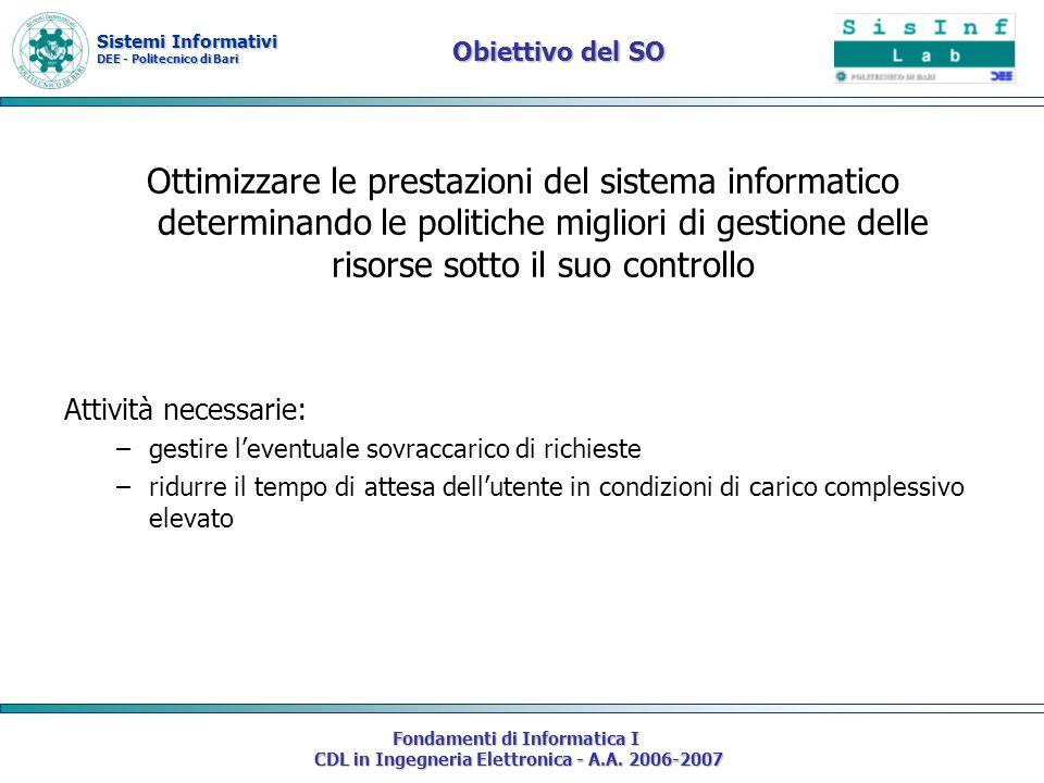 Sistemi Informativi DEE - Politecnico di Bari Fondamenti di Informatica I CDL in Ingegneria Elettronica - A.A. 2006-2007 Obiettivo del SO Ottimizzare