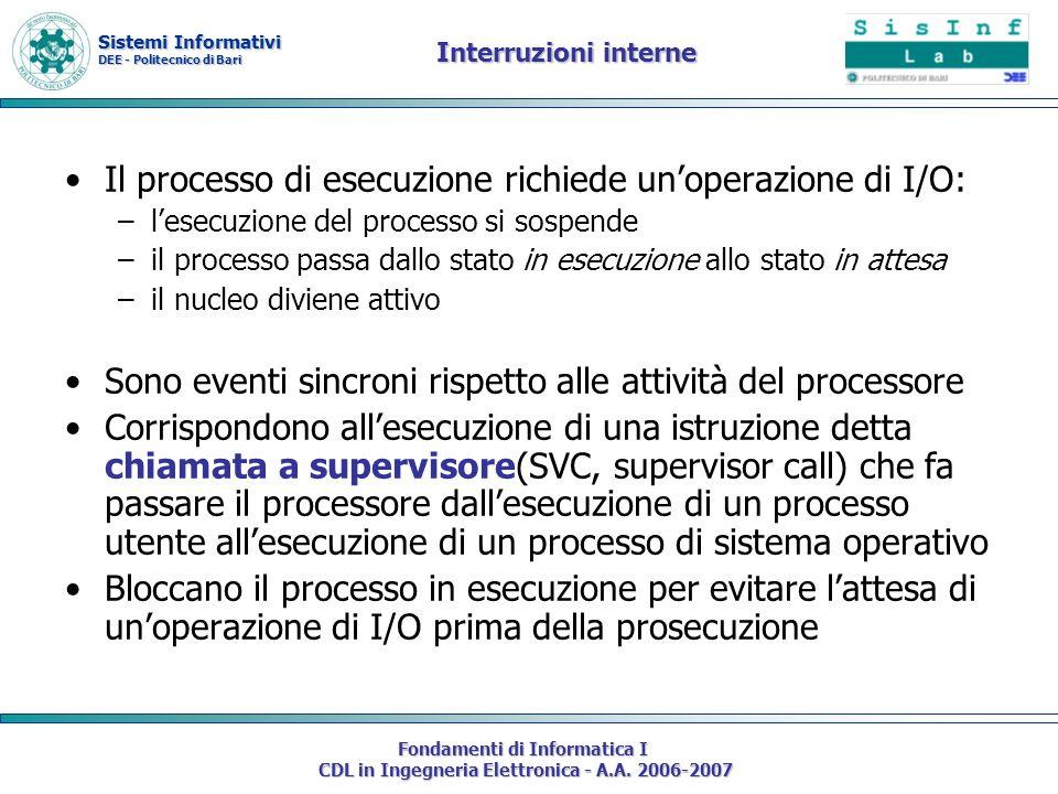 Sistemi Informativi DEE - Politecnico di Bari Fondamenti di Informatica I CDL in Ingegneria Elettronica - A.A. 2006-2007 Interruzioni interne Il proce