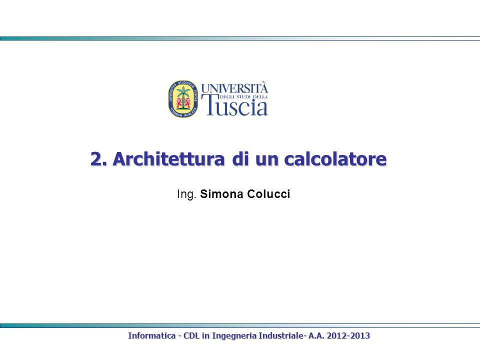 Informatica - CDL in Ingegneria Industriale- A.A. 2012-2013 2. Architettura di un calcolatore Ing. Simona Colucci