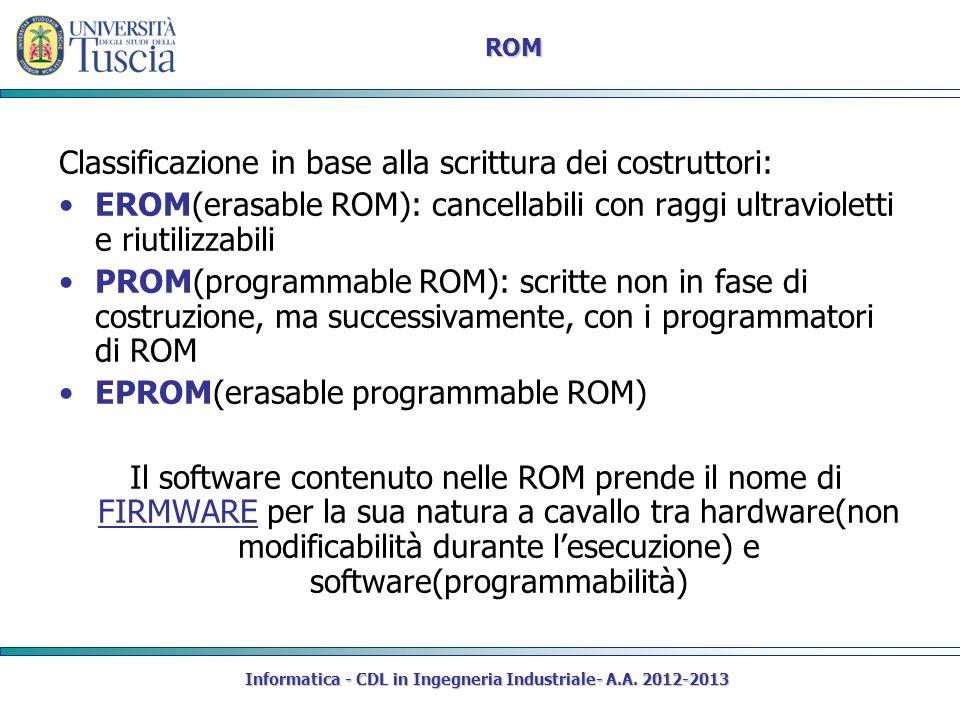 Informatica - CDL in Ingegneria Industriale- A.A. 2012-2013 ROM Classificazione in base alla scrittura dei costruttori: EROM(erasable ROM): cancellabi