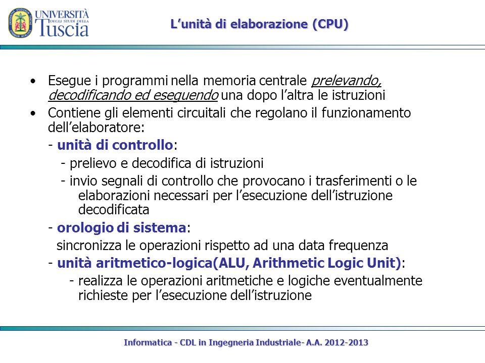 Informatica - CDL in Ingegneria Industriale- A.A. 2012-2013 Esegue i programmi nella memoria centrale prelevando, decodificando ed eseguendo una dopo