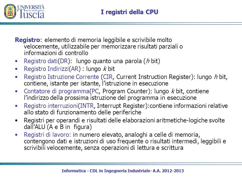 Informatica - CDL in Ingegneria Industriale- A.A. 2012-2013 I registri della CPU Registro: elemento di memoria leggibile e scrivibile molto velocement