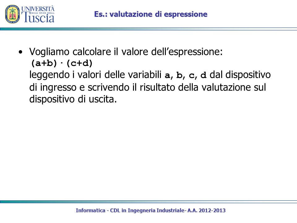 Informatica - CDL in Ingegneria Industriale- A.A. 2012-2013 Es.: valutazione di espressione Vogliamo calcolare il valore dellespressione: (a+b)·(c+d)