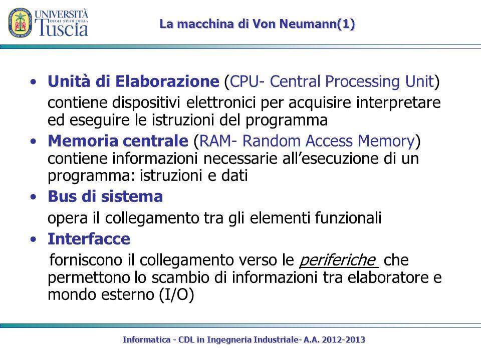 Informatica - CDL in Ingegneria Industriale- A.A. 2012-2013 Unità di Elaborazione (CPU- Central Processing Unit) contiene dispositivi elettronici per