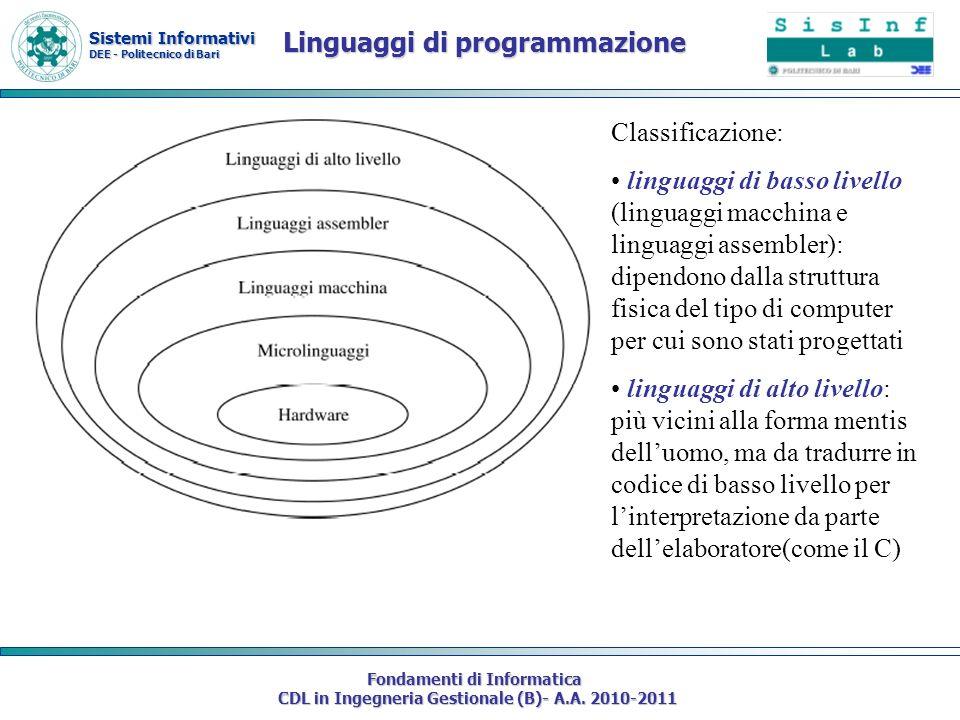 Sistemi Informativi DEE - Politecnico di Bari Fondamenti di Informatica CDL in Ingegneria Gestionale (B)- A.A. 2010-2011 Linguaggi di programmazione C