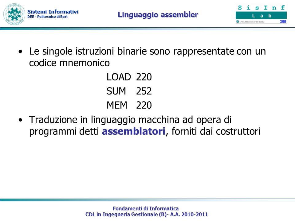 Sistemi Informativi DEE - Politecnico di Bari Fondamenti di Informatica CDL in Ingegneria Gestionale (B)- A.A. 2010-2011 Linguaggio assembler Le singo