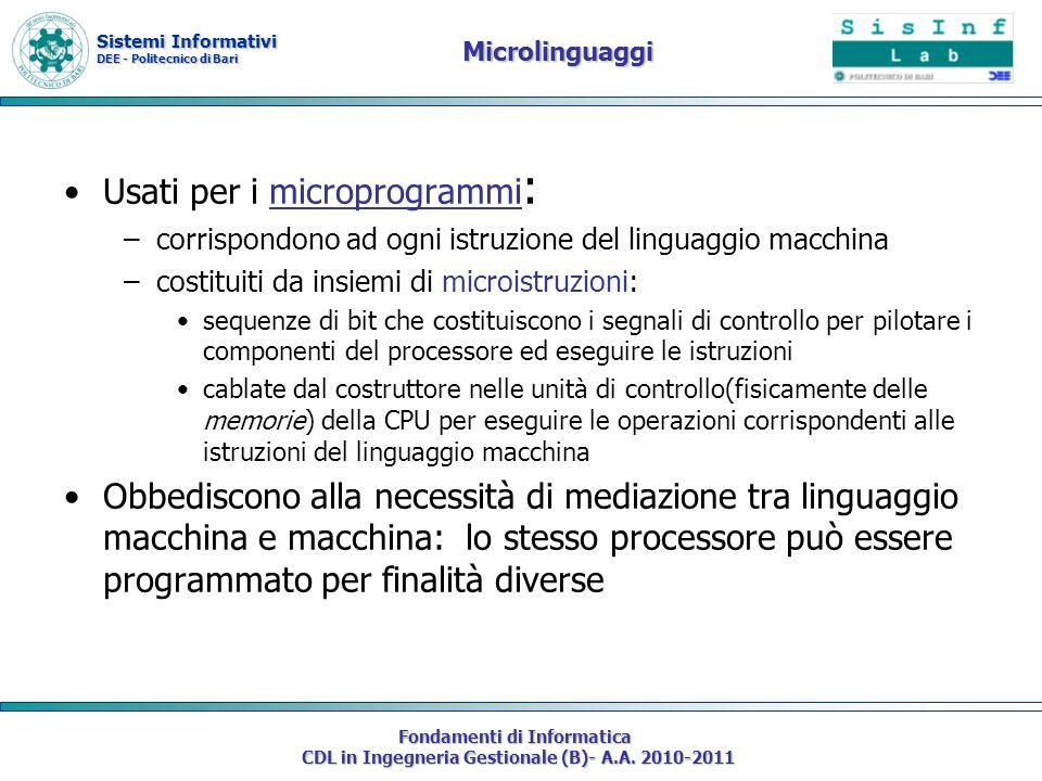 Sistemi Informativi DEE - Politecnico di Bari Fondamenti di Informatica CDL in Ingegneria Gestionale (B)- A.A. 2010-2011 Microlinguaggi Usati per i mi