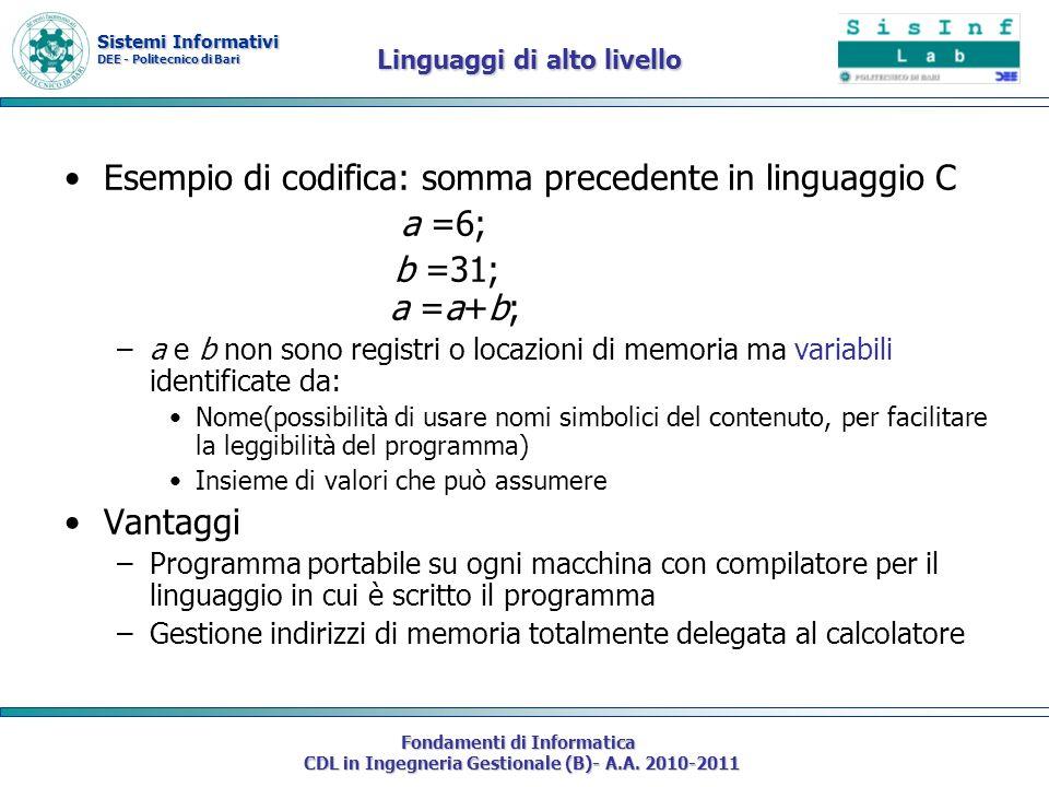 Sistemi Informativi DEE - Politecnico di Bari Fondamenti di Informatica CDL in Ingegneria Gestionale (B)- A.A. 2010-2011 Linguaggi di alto livello Ese