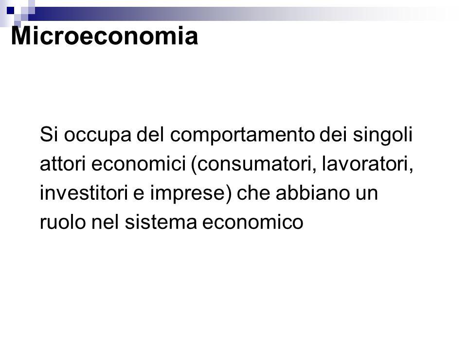 Microeconomia Si occupa del comportamento dei singoli attori economici (consumatori, lavoratori, investitori e imprese) che abbiano un ruolo nel siste