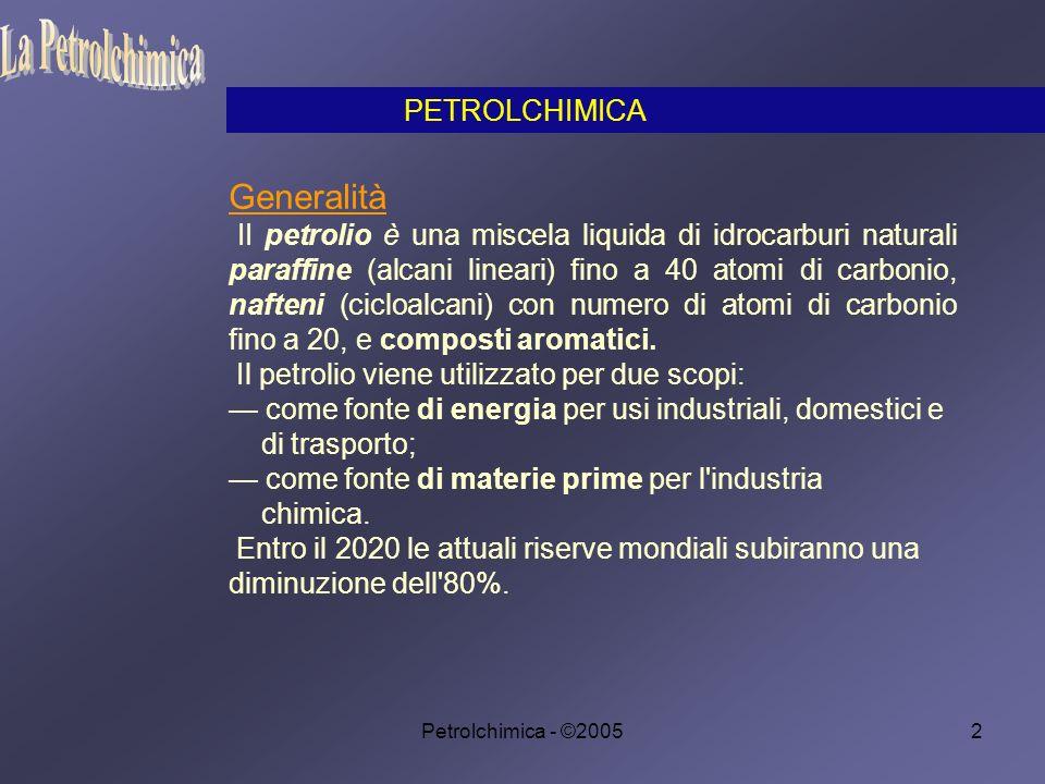 Petrolchimica - ©200573 Dopo aver esaminato i processi ai quali è sottoposto il petrolio, si può passare all esame dei composti che da esso vengono isolati o preparati e che rappresentano materie prime di importanza fondamentale per parecchie industrie.