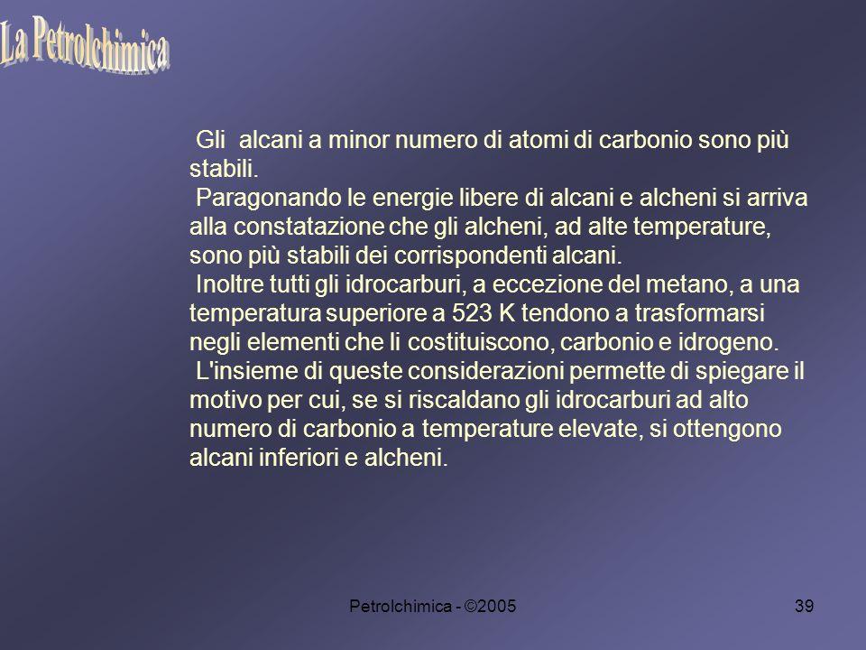 Petrolchimica - ©200539 Gli alcani a minor numero di atomi di carbonio sono più stabili.