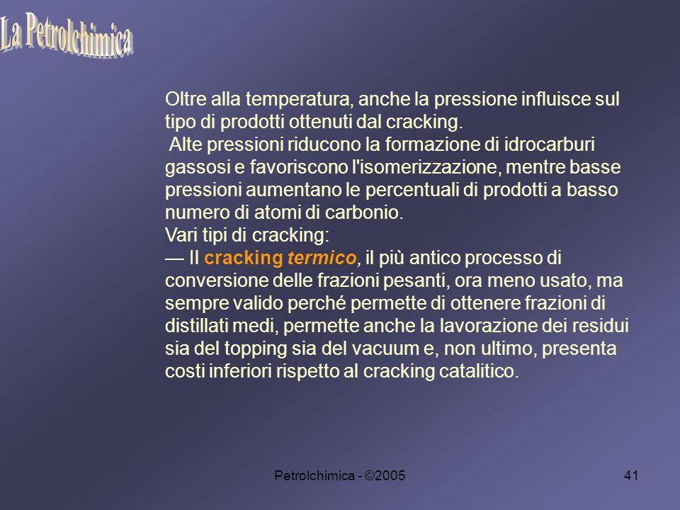 Petrolchimica - ©200541 Oltre alla temperatura, anche la pressione influisce sul tipo di prodotti ottenuti dal cracking.