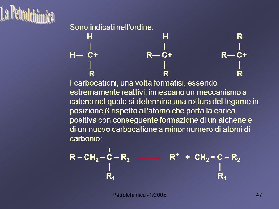 Petrolchimica - ©200547 Sono indicati nell ordine: H H R | | | H C+ R C+ R C+ | | | R R R I carbocationi, una volta formatisi, essendo estremamente reattivi, innescano un meccanismo a catena nel quale si determina una rottura del legame in posizione β rispetto all atomo che porta la carica positiva con conseguente formazione di un alchene e di un nuovo carbocatione a minor numero di atomi di carbonio: R – CH 2 – C – R 2 R + + CH 2 = C – R 2 | | R 1 R 1 +