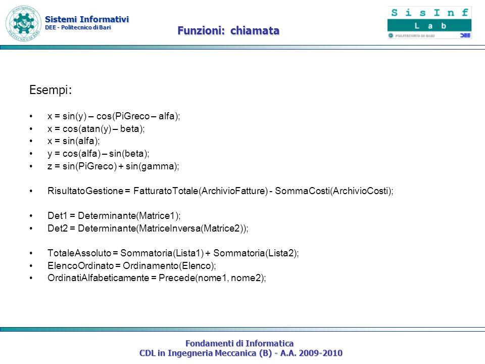 Sistemi Informativi DEE - Politecnico di Bari Fondamenti di Informatica CDL in Ingegneria Meccanica (B) - A.A.