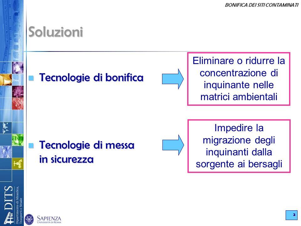 BONIFICA DEI SITI CONTAMINATI 2 Soluzioni Tecnologie di bonifica Tecnologie di bonifica Tecnologie di messa in sicurezza Tecnologie di messa in sicure