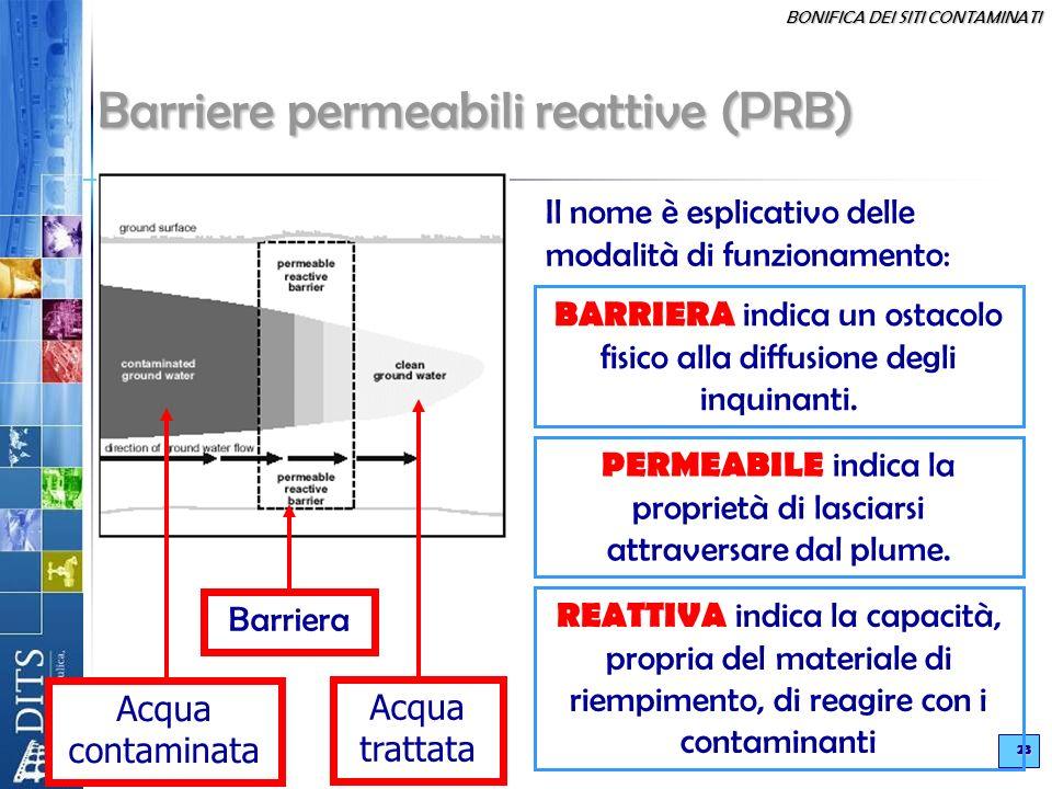 BONIFICA DEI SITI CONTAMINATI 23 Il nome è esplicativo delle modalità di funzionamento: BARRIERA indica un ostacolo fisico alla diffusione degli inqui