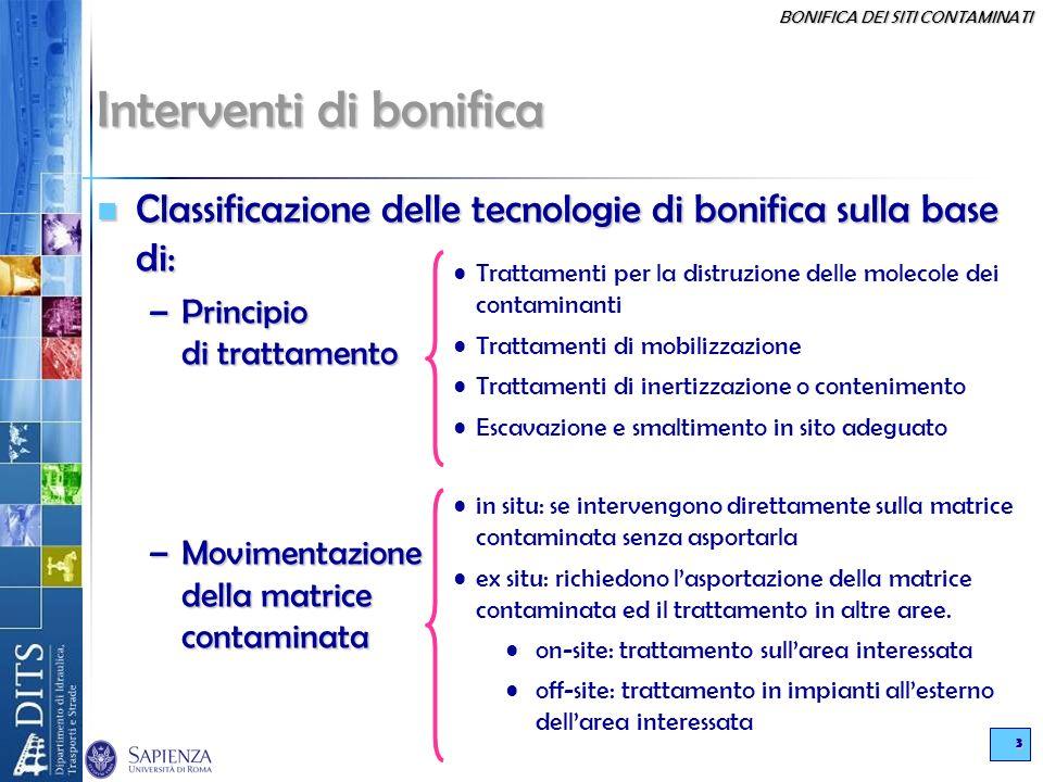 BONIFICA DEI SITI CONTAMINATI 3 Interventi di bonifica Classificazione delle tecnologie di bonifica sulla base di: Classificazione delle tecnologie di