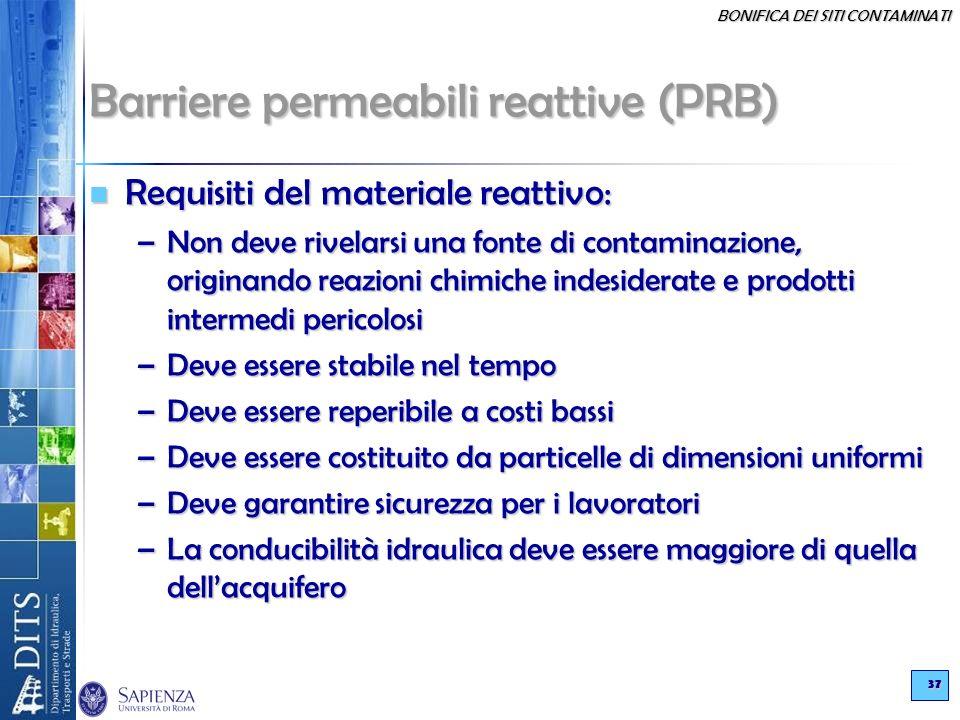 BONIFICA DEI SITI CONTAMINATI 37 Barriere permeabili reattive (PRB) Requisiti del materiale reattivo: Requisiti del materiale reattivo: –Non deve rive