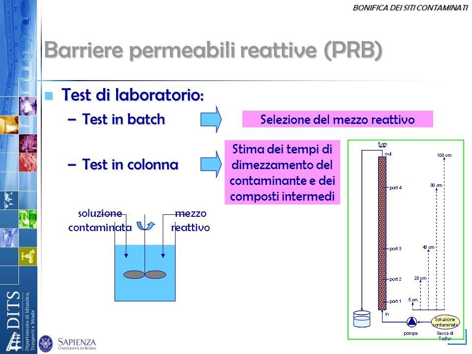 BONIFICA DEI SITI CONTAMINATI 40 Barriere permeabili reattive (PRB) Test di laboratorio: Test di laboratorio: –Test in batch –Test in colonna Selezion