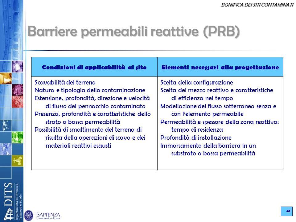 BONIFICA DEI SITI CONTAMINATI 41 Barriere permeabili reattive (PRB) Condizioni di applicabilità al sitoElementi necessari alla progettazione Scavabili