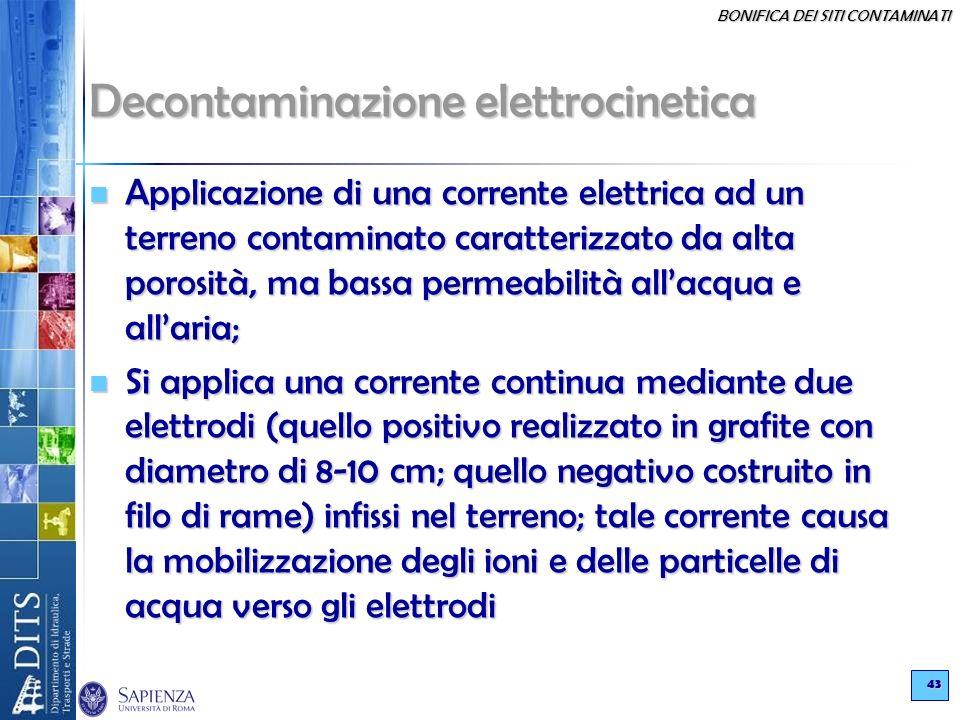 BONIFICA DEI SITI CONTAMINATI 43 Decontaminazione elettrocinetica Applicazione di una corrente elettrica ad un terreno contaminato caratterizzato da a