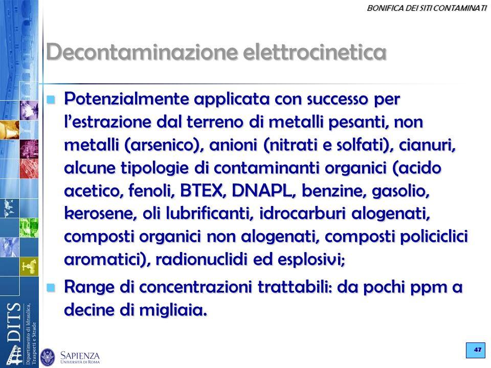 BONIFICA DEI SITI CONTAMINATI 47 Decontaminazione elettrocinetica Potenzialmente applicata con successo per lestrazione dal terreno di metalli pesanti