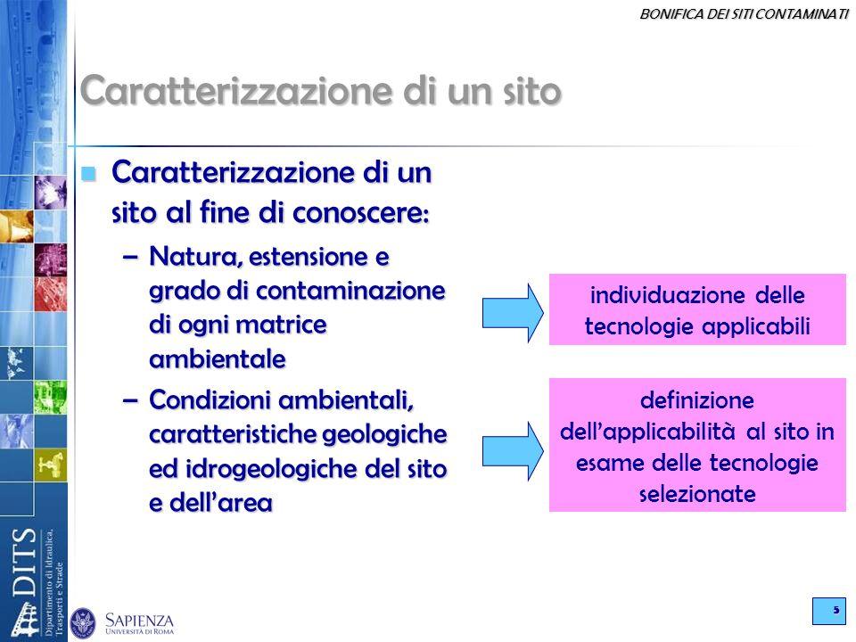 BONIFICA DEI SITI CONTAMINATI 5 Caratterizzazione di un sito Caratterizzazione di un sito al fine di conoscere: Caratterizzazione di un sito al fine d