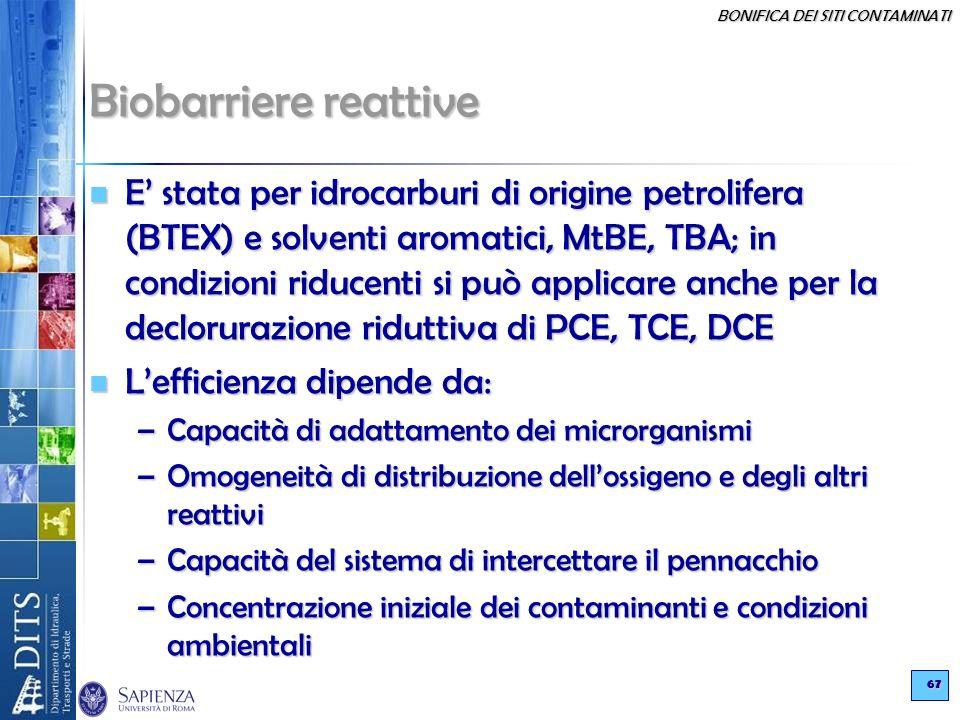 BONIFICA DEI SITI CONTAMINATI 67 Biobarriere reattive E stata per idrocarburi di origine petrolifera (BTEX) e solventi aromatici, MtBE, TBA; in condiz