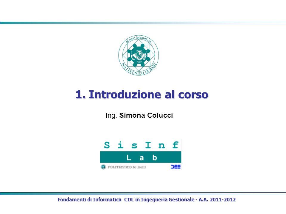 1. Introduzione al corso Fondamenti di Informatica CDL in Ingegneria Gestionale - A.A. 2011-2012 Ing. Simona Colucci