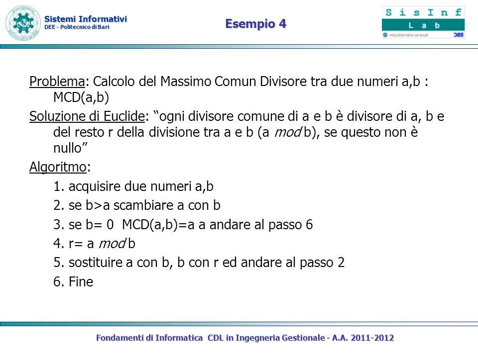 Sistemi Informativi DEE - Politecnico di Bari Esempio 4 Problema: Calcolo del Massimo Comun Divisore tra due numeri a,b : MCD(a,b) Soluzione di Euclide: ogni divisore comune di a e b è divisore di a, b e del resto r della divisione tra a e b (a mod b), se questo non è nullo Algoritmo: 1.