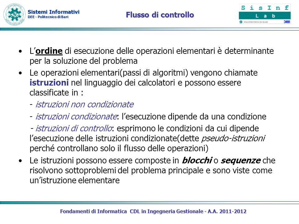Sistemi Informativi DEE - Politecnico di Bari Flusso di controllo Lordine di esecuzione delle operazioni elementari è determinante per la soluzione del problema Le operazioni elementari(passi di algoritmi) vengono chiamate istruzioni nel linguaggio dei calcolatori e possono essere classificate in : - istruzioni non condizionate - istruzioni condizionate: lesecuzione dipende da una condizione - istruzioni di controllo: esprimono le condizioni da cui dipende lesecuzione delle istruzioni condizionate(dette pseudo-istruzioni perché controllano solo il flusso delle operazioni) Le istruzioni possono essere composte in blocchi o sequenze che risolvono sottoproblemi del problema principale e sono viste come unistruzione elementare Fondamenti di Informatica CDL in Ingegneria Gestionale - A.A.