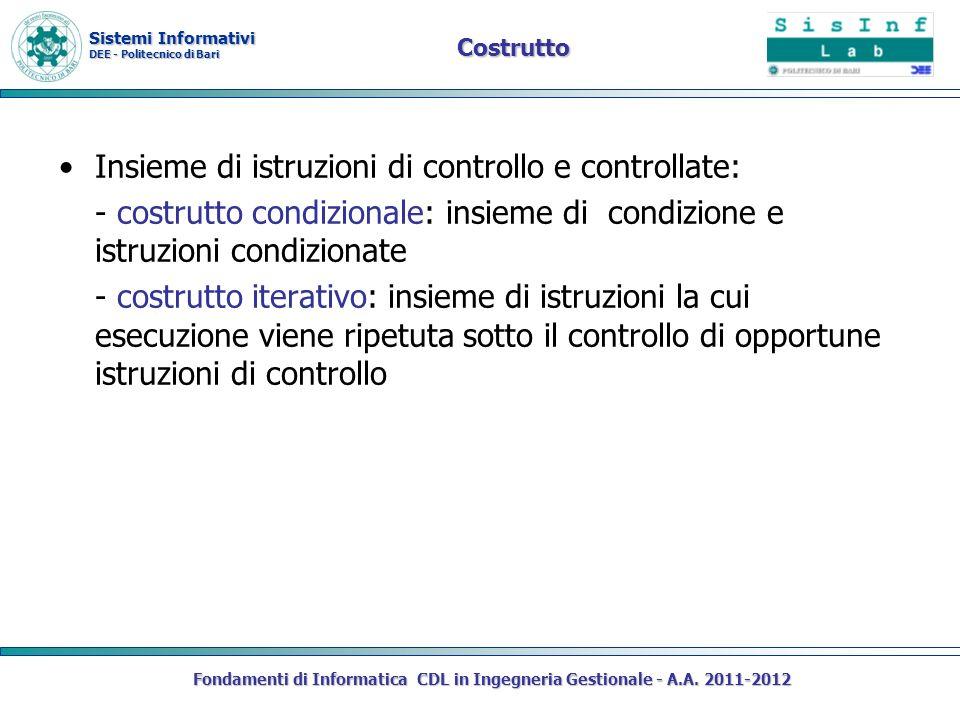 Sistemi Informativi DEE - Politecnico di Bari Costrutto Insieme di istruzioni di controllo e controllate: - costrutto condizionale: insieme di condizi