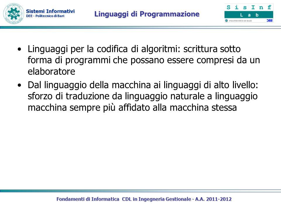 Sistemi Informativi DEE - Politecnico di Bari Linguaggi di Programmazione Linguaggi per la codifica di algoritmi: scrittura sotto forma di programmi c