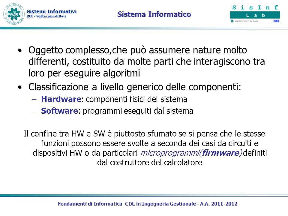 Sistemi Informativi DEE - Politecnico di Bari Sistema Informatico Oggetto complesso,che può assumere nature molto differenti, costituito da molte part