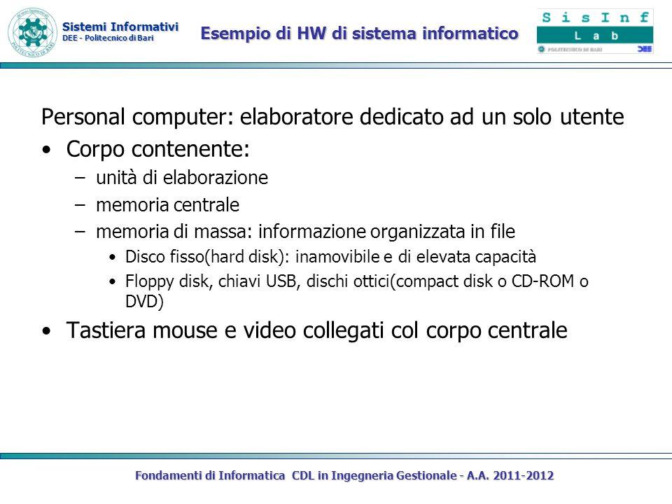 Sistemi Informativi DEE - Politecnico di Bari Esempio di HW di sistema informatico Personal computer: elaboratore dedicato ad un solo utente Corpo con