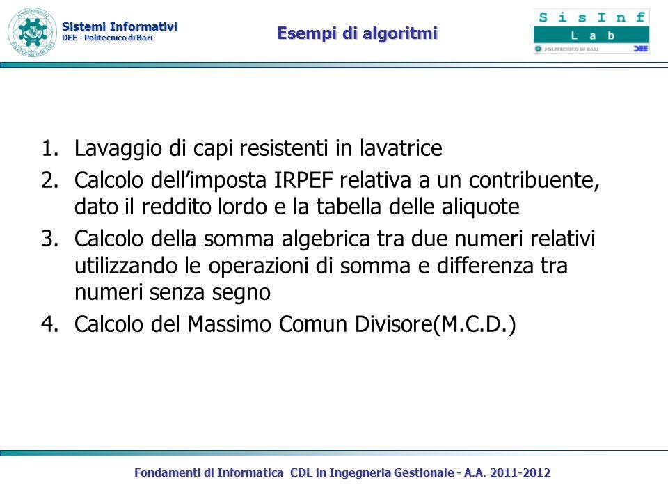 Sistemi Informativi DEE - Politecnico di Bari Esempi di algoritmi 1.Lavaggio di capi resistenti in lavatrice 2.Calcolo dellimposta IRPEF relativa a un