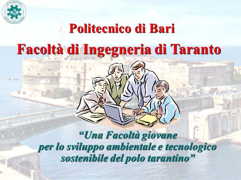 Politecnico di Bari Una Facoltà giovane per lo sviluppo ambientale e tecnologico sostenibile del polo tarantino Facoltà di Ingegneria di Taranto