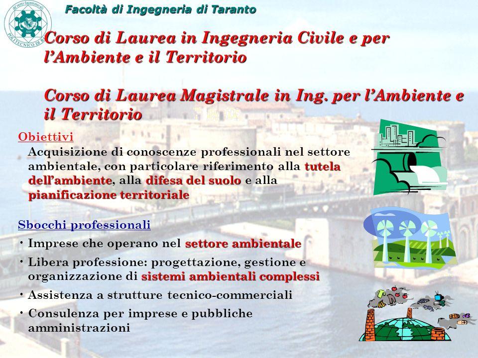 Corso di Laurea in Ingegneria Civile e per lAmbiente e il Territorio Corso di Laurea Magistrale in Ing. per lAmbiente e il Territorio Obiettivi tutela
