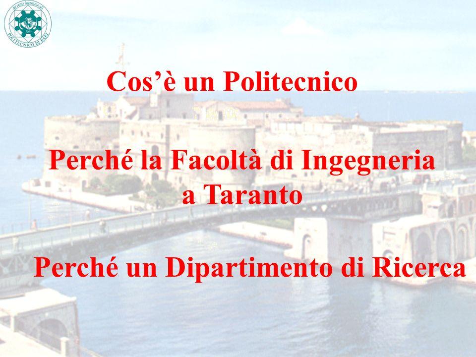 Cosè un Politecnico Perché la Facoltà di Ingegneria a Taranto Perché un Dipartimento di Ricerca