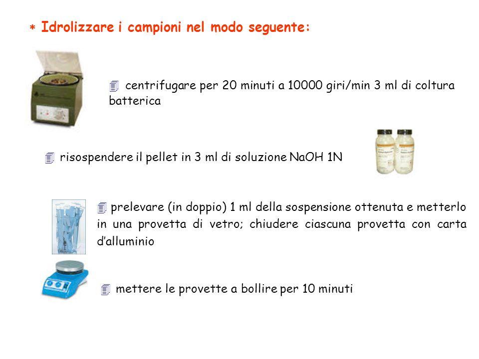 Idrolizzare i campioni nel modo seguente: centrifugare per 20 minuti a 10000 giri/min 3 ml di coltura batterica risospendere il pellet in 3 ml di solu