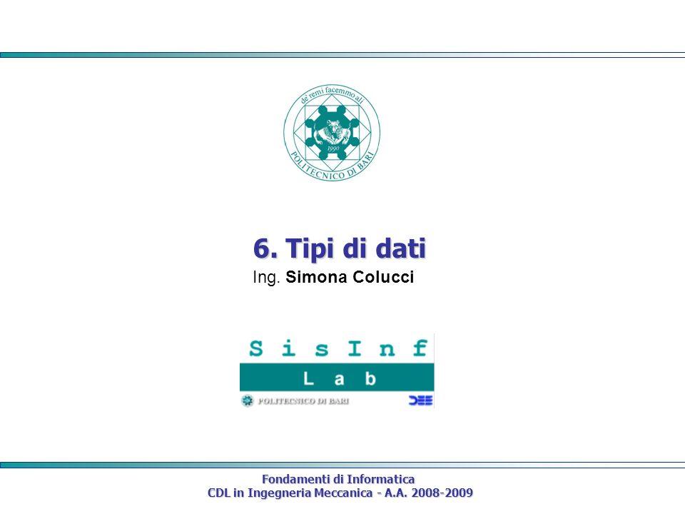 Fondamenti di Informatica CDL in Ingegneria Meccanica - A.A. 2008-2009 CDL in Ingegneria Meccanica - A.A. 2008-2009 6. Tipi di dati Ing. Simona Colucc