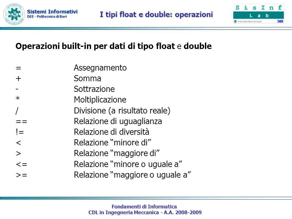 Sistemi Informativi DEE - Politecnico di Bari Fondamenti di Informatica CDL in Ingegneria Meccanica - A.A. 2008-2009 I tipi float e double: operazioni