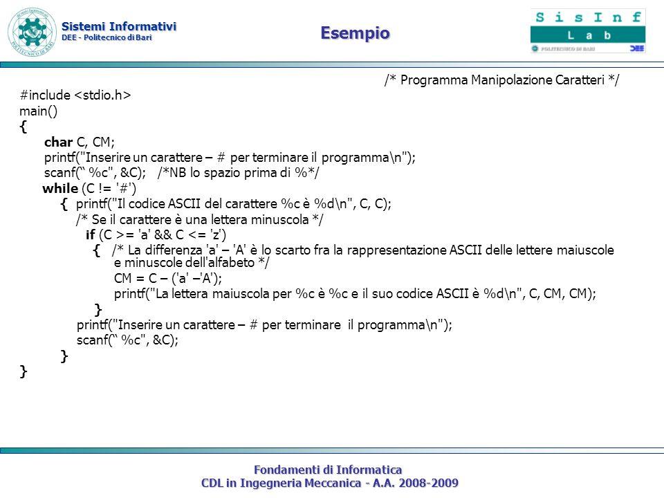 Sistemi Informativi DEE - Politecnico di Bari Fondamenti di Informatica CDL in Ingegneria Meccanica - A.A. 2008-2009 Esempio /* Programma Manipolazion